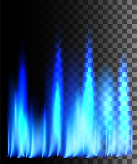 透明な背景に青い火の抽象的な効果。