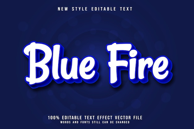 파란 불 편집 가능한 텍스트 효과 3차원 그라데이션 스타일