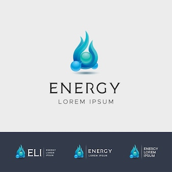 Blue fire energy logo with molecule