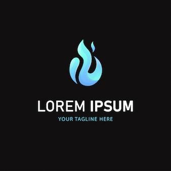 Голубой огонь дизайн логотипа. абстрактный логотип градиент стиль