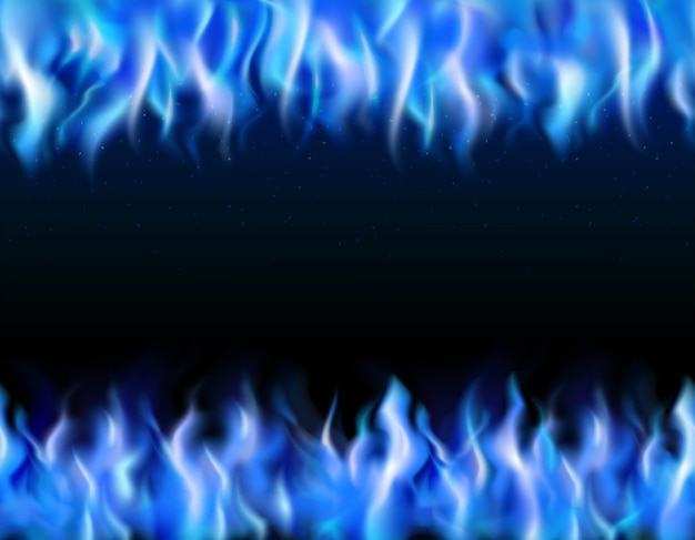 Blue fire tileable realistic borders on black background