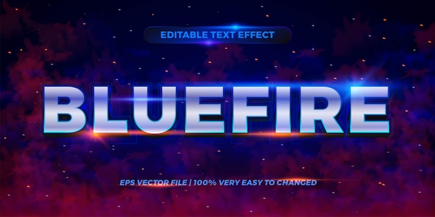 Редактируемый текстовый эффект - стиль текста blue fire
