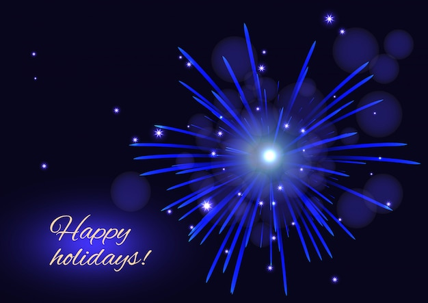 Blue fireworks over starry night sky, happy holidays card