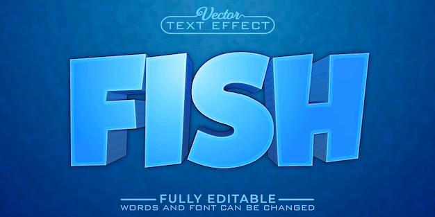 Редактируемый текстовый эффект из мультфильма `` синяя рыба ''