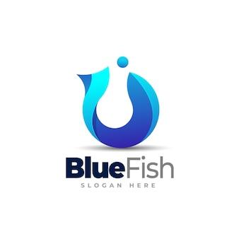 Blue fish logo template design