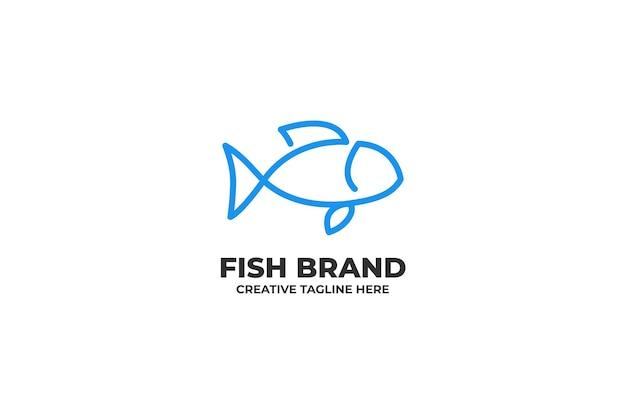 Blue fish one line business logo