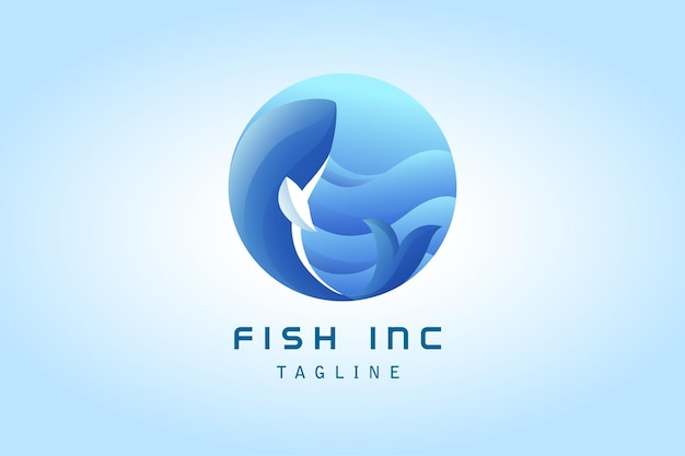 Blue fish with sea wave gradient logo for corporate