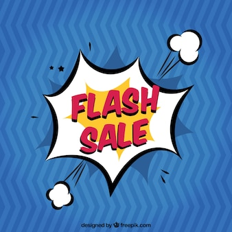 Blue flash sale background in comic style