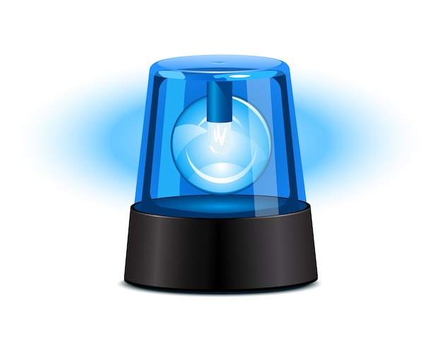 Blue flashing light over a white background