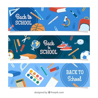 Blue flat back to school banners