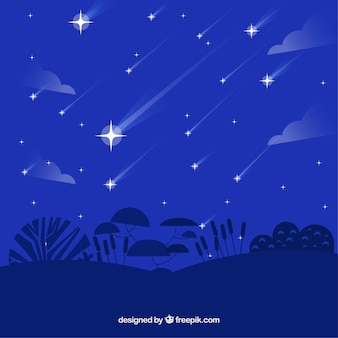 Blue flat background with falling stars