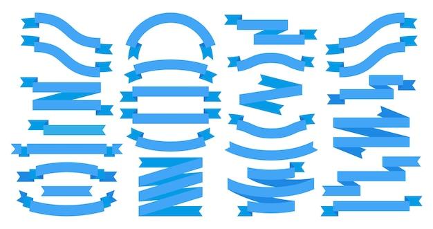 白で隔離の青いフラットバナー