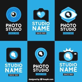 Blue flat design camera logo collection