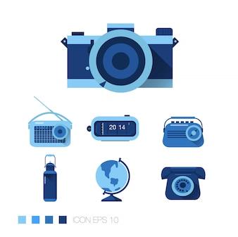 Blue Flat Icons set