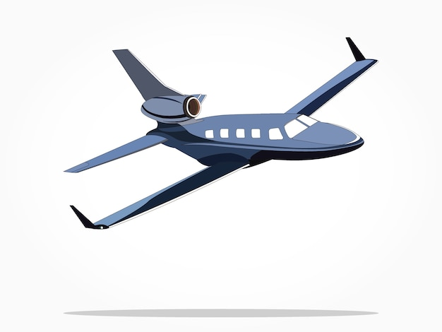 Blue floating private jet airplane