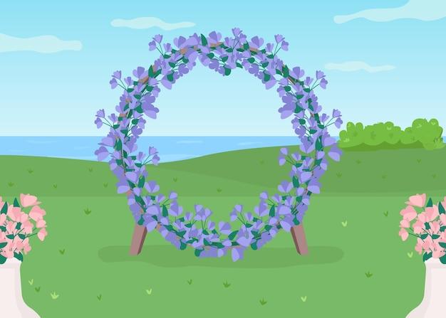 푸른 꽃 아치 평면 컬러 일러스트