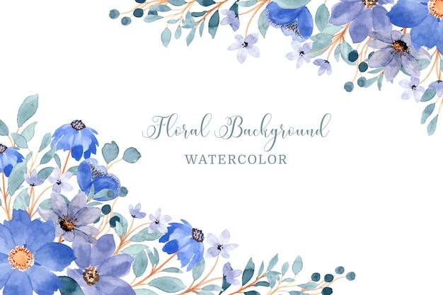 Синий цветочный фон с акварелью