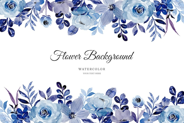 Blue floral background with watercolor