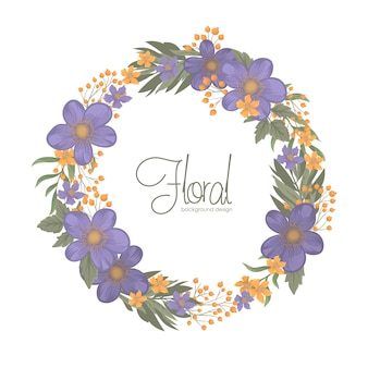 Blue floral background with wreath border