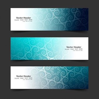 Blue floral banners