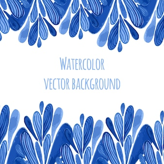 Blue floral border in russian or holland style. vecor template with watercolor decoration. can be used for greeting card, banner, souvenir