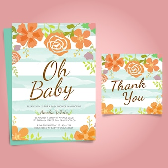 Blue floral card for baby shower