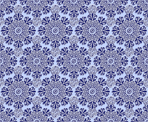 Blue floral carving seamless pattern