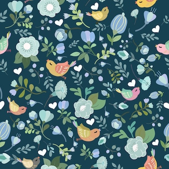 Blue floral and colorful bird seamless pattern.