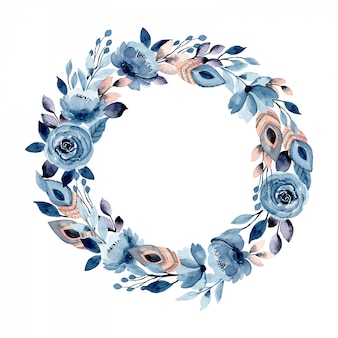 Blue floral and feather watercolor wreath