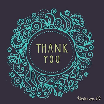 Blu cornice floreale per biglietto di ringraziamento