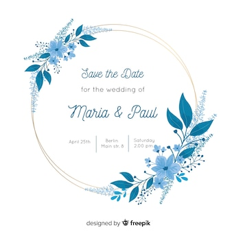 Blue floral frame wedding invitation