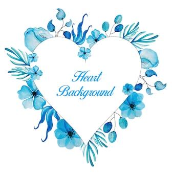 青い花の心のフレームの背景