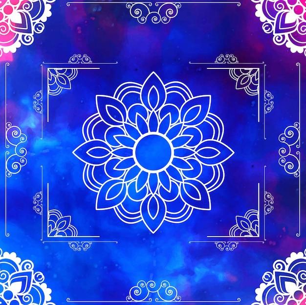 푸른 꽃 만다라 프레임 디자인
