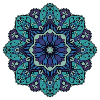 Blue floral mandala. oriental  element. Premium Vector