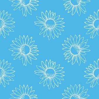青い花のシームレスなパターン白いデイジー手描きのベクトル図