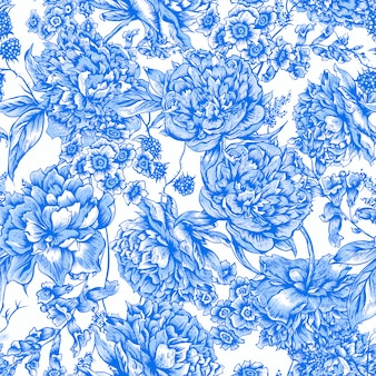 Blue floral seamless pattern with peonies in vintage style