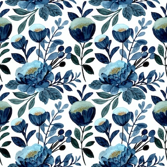 Blue floral seamless pattern with watercolor