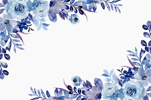 Blue floral spring background with watercolor