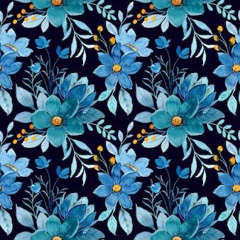 暗い背景に青い花の水彩画のシームレスなパターン