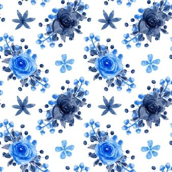 青い花の水彩画のシームレスなパターン