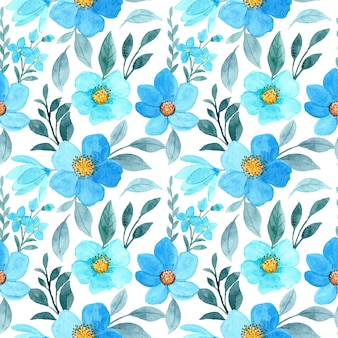 Blue floral watercolor seamless pattern
