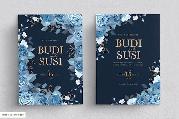 Blue floral wedding card set