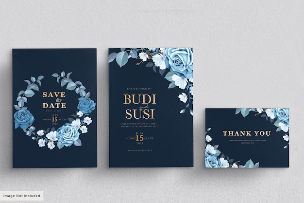 Set di carte di nozze floreali blu