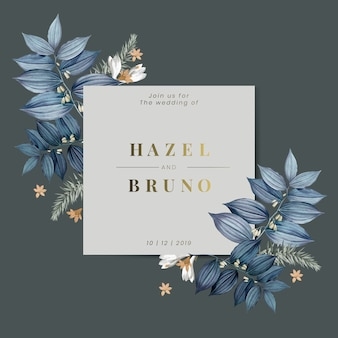 Blue floral wedding invitation card
