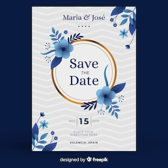 Blue floral wedding invitation template in flat design