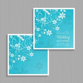 Blue floral wedding invitation Free Vector