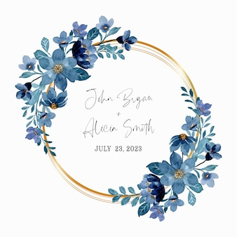 Blue floral wreath with watercolor