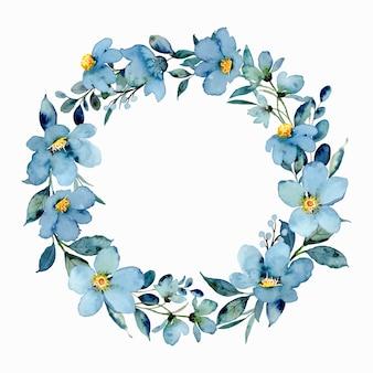水彩と青い花の花輪