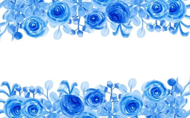수채화와 푸른 꽃 배경