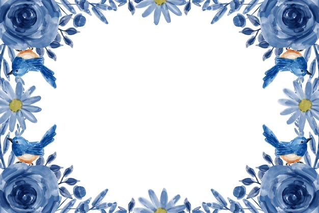Blue flower background with watercolor